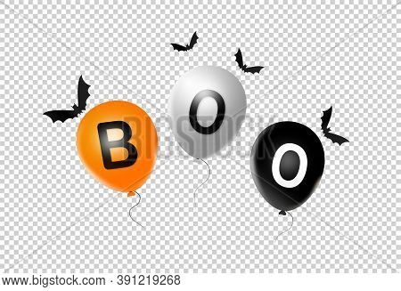 Halloween Party  Banner, Orange  White , Black , Air Balloons  Isolated  On Png Or Transparent  Back