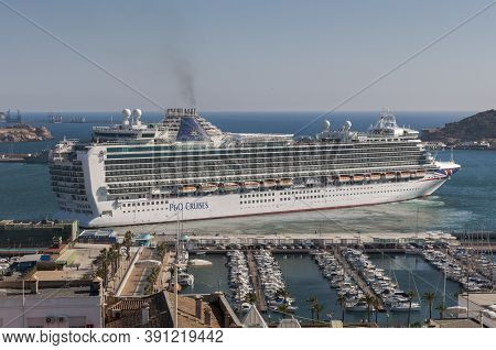 Cartagena, Spain - April 12, 2017: Cruise Leaving The Port Of Cartagena, In The Province Of Murcia,
