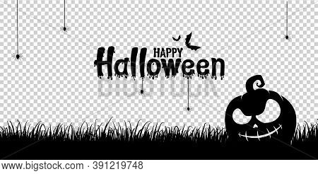 Happy Halloween Text Banner With Scary Pumpkin Face On Grass Field, Bats Flying, Spider, Spider Web,