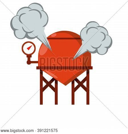 Vector Boiler For Heating Water. Element Of House, Bath And Toilet System. Cartoon Flat Illustration