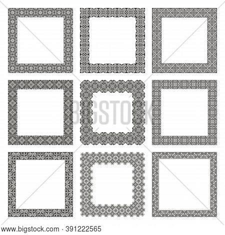 Vector Set Of Square Frames With Antique Traditional Greek Ornament. Ornate Floral Linear Borders. C