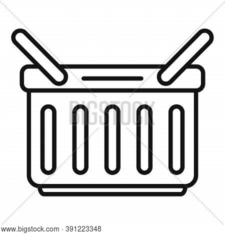 Grocery Shop Basket Icon. Outline Grocery Shop Basket Vector Icon For Web Design Isolated On White B