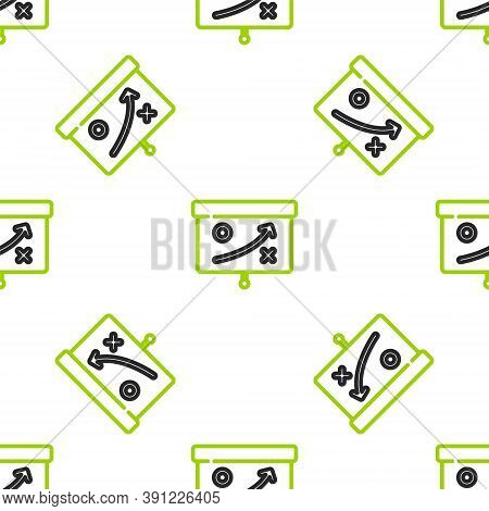 Line Planning Strategy Concept Icon Isolated Seamless Pattern On White Background. Cup Formation And