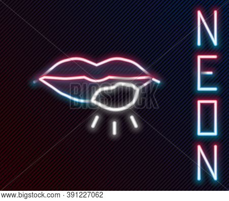 Glowing Neon Line Herpes Lip Icon Isolated On Black Background. Herpes Simplex Virus. Labial Infecti