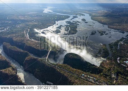 Areal Views Of Victoria Falls In Zimbabwe