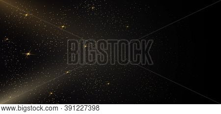 Gold Glitter Of Particles On Black Background Star Dust Sparkling Particles. Vector Illustration