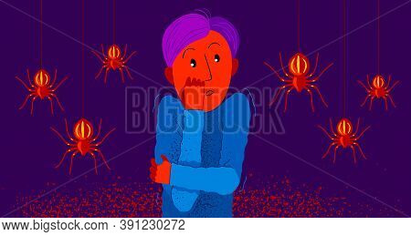 Arachnophobia Fear Of Spiders Vector Illustration, Boy Surrounded By Spiders Scared In Panic Attack,