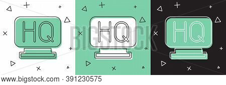 Set Military Headquarters Icon Isolated On White And Green, Black Background. Vector