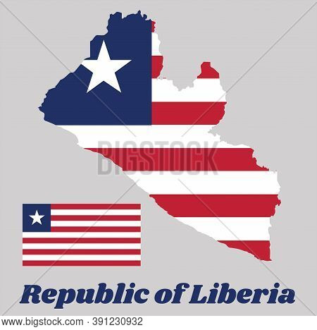 Map Outline And Flag Of Liberia, Eleven Horizontal Stripes Alternating Red And White; In The Canton,
