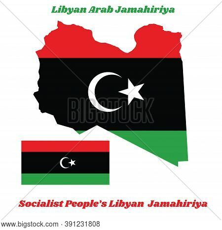 Map Outline And Flag Of Libyan, A Horizontal Triband Of Red, Black And Green With A White Crescent A