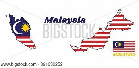 Map Outline And Flag Of Malaysian In Blue Red White And Yellow Color With Yellow Star And White Cres