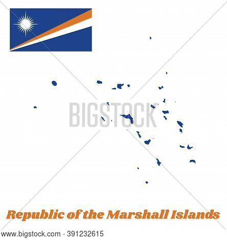 Map Outline And Flag Of Marshall. A Blue Field With Two Diagonal Stripes Of Orange And White And The