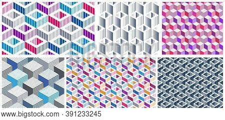 Geometric 3d Seamless Patterns With Lined Cubes, Stripy Boxes Blocks Vector Backgrounds Set, Archite