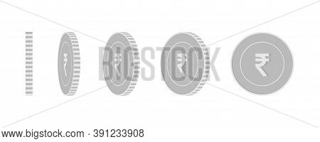 Indian Rupee Rotating Coins Set, Animation Ready. Black And White Inr Silver Coins Rotation. India M