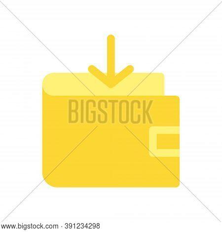 Golden Digital Wallet, Cryptocurrency Wallet. Put Money In Your Crypto Wallet, Deposit Sign. Increas