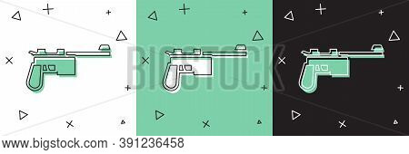 Set Mauser Gun Icon Isolated On White And Green, Black Background. Mauser C96 Is A Semi-automatic Pi
