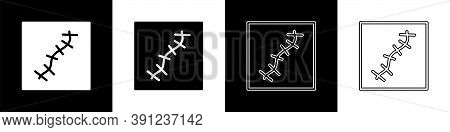 Set Scar With Suture Icon Isolated On Black And White Background. Vector