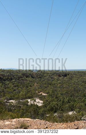 Power Lines Supplying Power To The Queensland Outback Going Through White Mountains National Park An