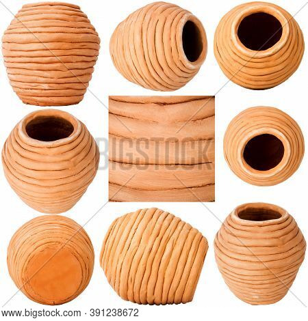 Collection Of Images With Unglazed Handmade Coiled Pottery Pot Made Of Red Clay Isolated On White Ba