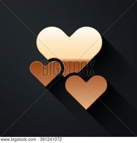 Gold Heart Icon Isolated On Black Background. Romantic Symbol Linked, Join, Passion And Wedding. Val