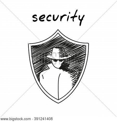 Security Badge Shield Handdrawn Icon. Cartoon Vector Clip Art Of A Shield With An Image Of A Spy Man