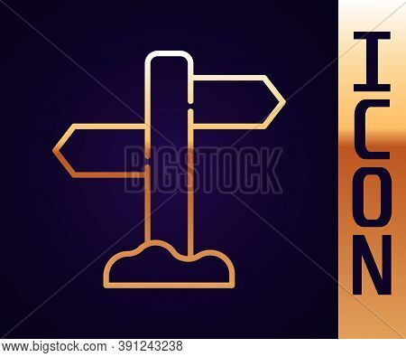 Gold Line Road Traffic Sign. Signpost Icon Isolated On Black Background. Pointer Symbol. Street Info