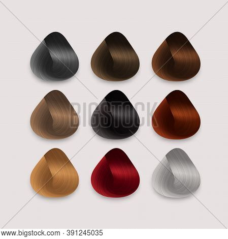 Set Of Locks Of Different Hair Color Samples. Vector Realistic Rounded Shape Isolated On White Backg