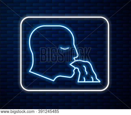Glowing Neon Line Vomiting Man Icon Isolated On Brick Wall Background. Symptom Of Disease, Problem W