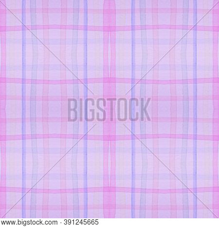 Pastel Pajama Pattern. Wool Seamless Tartan Textile. Watercolour Squares For Fabric Design. Purple K