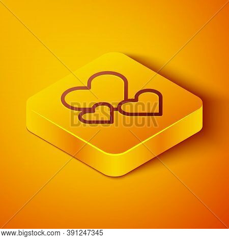 Isometric Line Heart Icon Isolated On Orange Background. Romantic Symbol Linked, Join, Passion And W