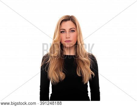 Business Woman Portrait Isolated On White Background.