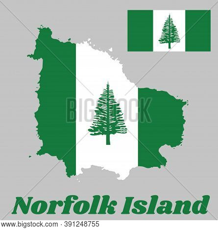 Map Outline And Flag Of Norfolk. Norfolk Island Pine In A Central White Stripe Between Two Green Str