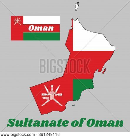 Map Outline And Flag Of Oman, A Horizontal Tricolor Of White, Red And Green; With A Vertical Red Str