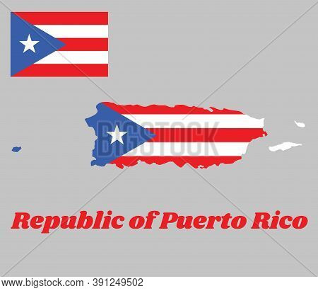 Map Outline Of Puerto Rico, Horizontal White And Red Bands With Isosceles Triangle Based On The Hois