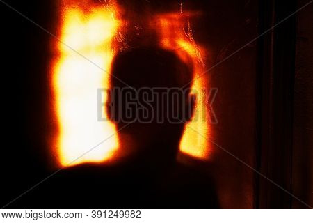 Dark Silhouette Of The Man . Depressive Atmosphere