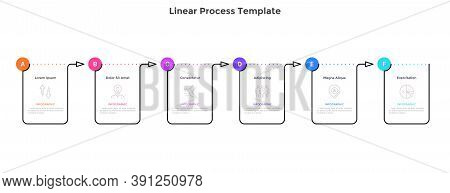 Linear Progress Bar With Six Rectangular Elements Connected By Arrows. Concept Of 6 Steps Of Progres