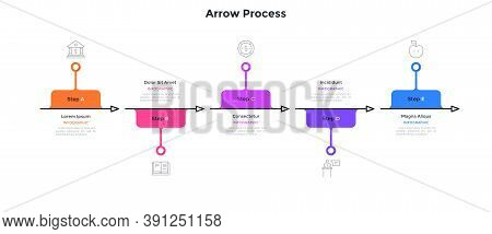 Flowchart With Five Arrows Placed In Horizontal Row. Concept Of 5 Successive Steps Of Business Devel