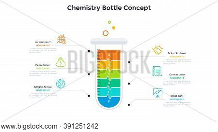 Test Tube Divided Into 6 Colorful Jigsaw Puzzle Pieces. Concept Of Six Stages Of Chemistry Research,