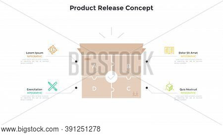 Carton Box Made Of 4 Jigsaw Puzzle Pieces. Concept Of Four Steps To Product Release, Manufacturing P