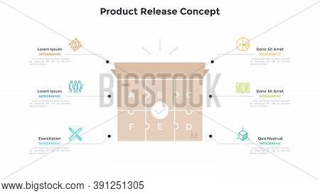 Carton Box Made Of 6 Jigsaw Puzzle Pieces. Concept Of Six Steps To Product Release, Manufacturing Pr