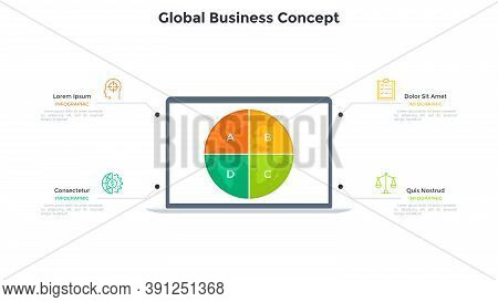 Planet Earth Divided Into 4 Sectors On Screen Of Laptop Computer. Concept Of Four Features Of Global