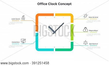 Square Clock Face And 5 Options. Concept Of Five Steps To Productivity And Effective Time Planning.