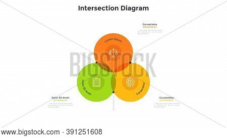 Venn Diagram With Three Intersected Colorful Translucent Round Elements. Concept Of 3 Features Of Ma