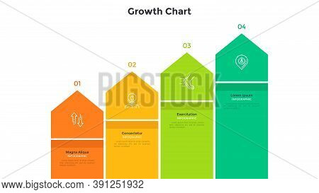 Ascending Chart With Pointer-like Elements Placed In Horizontal Row. Concept Of 4 Steps Of Business