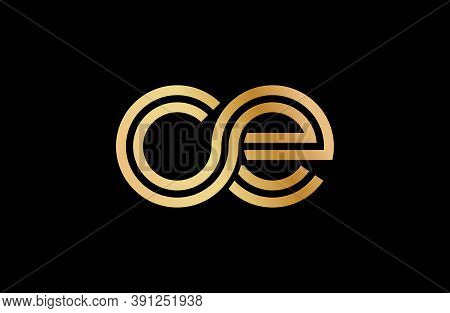 Lowercase Letters C And E. Flat Bound Design In A Golden Hue For A Logo, Brand, Or Logo. Vector Illu