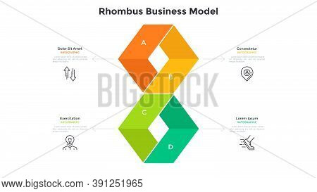 Diagram With Four Colorful Rhombus-like Elements. Concept Of 4 Steps Of Marketing Strategy. Simple I