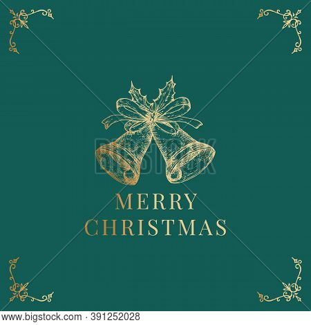 Christmas Abstract Vector Classy Label, Sign Or Card Template. Hand Drawn Golden Glitter Bells With