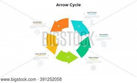 Cyclic Round Chart With 5 Colorful Arrows. Concept Of Five Stages Of Project Development Cycle. Mode