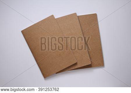 Yellow Ocher Blank Books On White Background