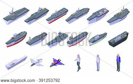 Aircraft Carrier Icons Set. Isometric Set Of Aircraft Carrier Vector Icons For Web Design Isolated O